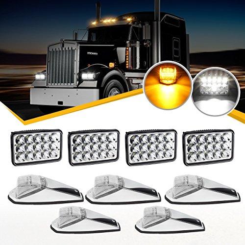 (Partsam 4PCS 4x6 inch LED Headlight Sealed Dual Beam White Rectangular H4651 H4666 H4656 H6545 + 5X Cab Marker Roof Light 31 LED Amber/Yellow Clear Lens Peterbilt Kenworth Freightliner Mack)
