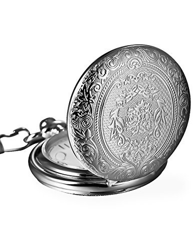 Mudder Vintage Stainless Steel Quartz Pocket Watch Chain (Silver) -