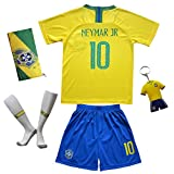 Kid Box Brazil #10 Neymar JR. Kids Home Soccer Jersey & Shorts Socks Set Youth Sizes
