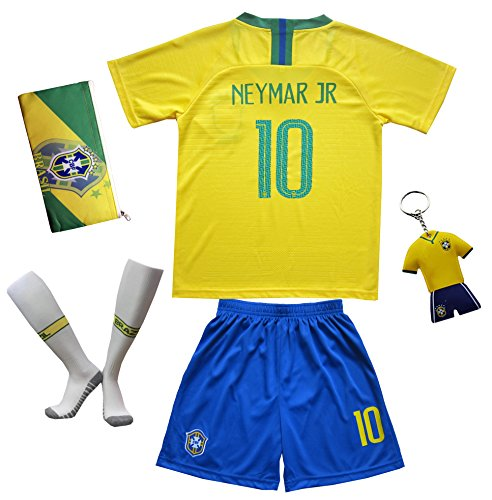 a4f11ce25f5 KID BOX 2018 FWC Brazil  10 Neymar JR. Kids Home Soccer Jersey   Shorts  Socks Set Youth Sizes (11-12 Years)