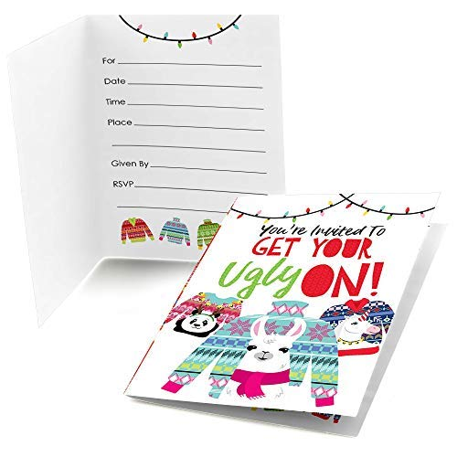 Big Dot of Happiness Wild and Ugly Sweater Party - Fill in Holiday and Christmas Animals Party Invitations (8 Count) ()