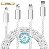 DANTENG iPhone Cable 4 Pack 3FT, 6FT, 6FT, 10FT, Extra Long Charging Cord Nylon Braided USB Lightning Charger for iPhone X, 8+, 8, 7+, 7, SE, 5, 5s, 6s, 6, 6 Plus, iPad Air, Mini, iPod (SilverGrey)