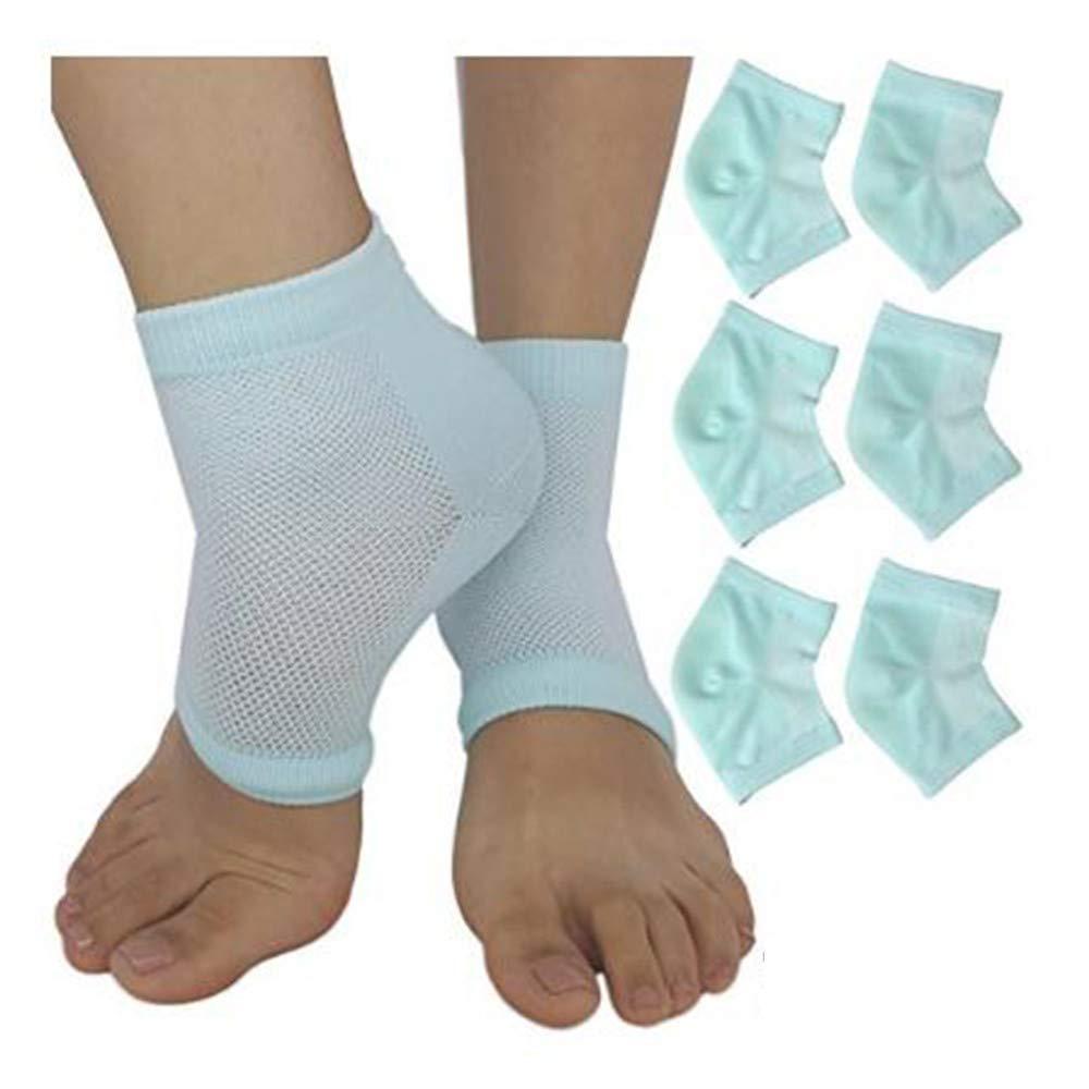 3 Pairs Soft Ventilate Gel Heel Socks - Open Toe Socks for Dry Hard Cracked Skin Moisturizing Day Night Care Skin Green