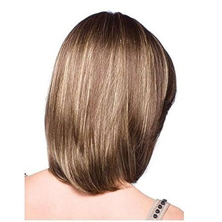Peluca para mujer, de material sintético, pelo largo hasta el hombro, tan natural que parece pelo real. Colores castaño y dorado.: Amazon.es: Belleza