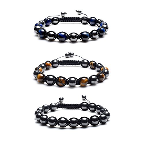 Top Plaza Men's Women's Reiki Healing Energy Natural Tiger Eye Stone Magnetic Hematite Therapy Beads Macrame Adjustable Braided Link Bracelet(Set Of 3)
