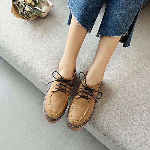 Latasa Womens Casual Lace-up Oxford Shoes Dark Yellow JKTedhlCS