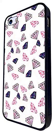 1297 - Cool Fun Trendy Cute Kawaii Collage Diamonds Street Gangster Whimsical Sketch Design iphone SE - 2016 Coque Fashion Trend Case Coque Protection Cover plastique et métal - Noir