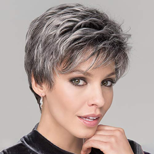 (JYS Gray Mix Color Fluffy Wigs,100% Human Hair High Temperature Silk Wig Pixie Cut Hair Natural Synthetic Wigs For Women Cosplay Party Wig)
