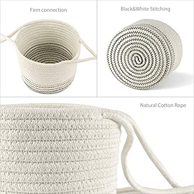 Mkono Cotton Rope Hanging Planter Woven Plant Basket Indoor Up to 7