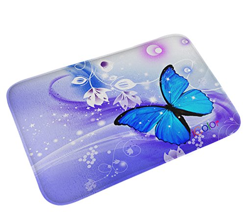 iColor Carpets Floor Mat/Cover Floor Rug Indoor/Outdoor Area Rugs,Washable Garden Office Door Mat,Kitchen Dining Living Hallway Bathroom Pet Entry Rugs with Non Slip Backing (Blue butterfly) -