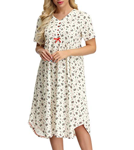 Zexxxy Womens Floral Printed Nightgown Button Front Short Sleeve House Dress Beige L