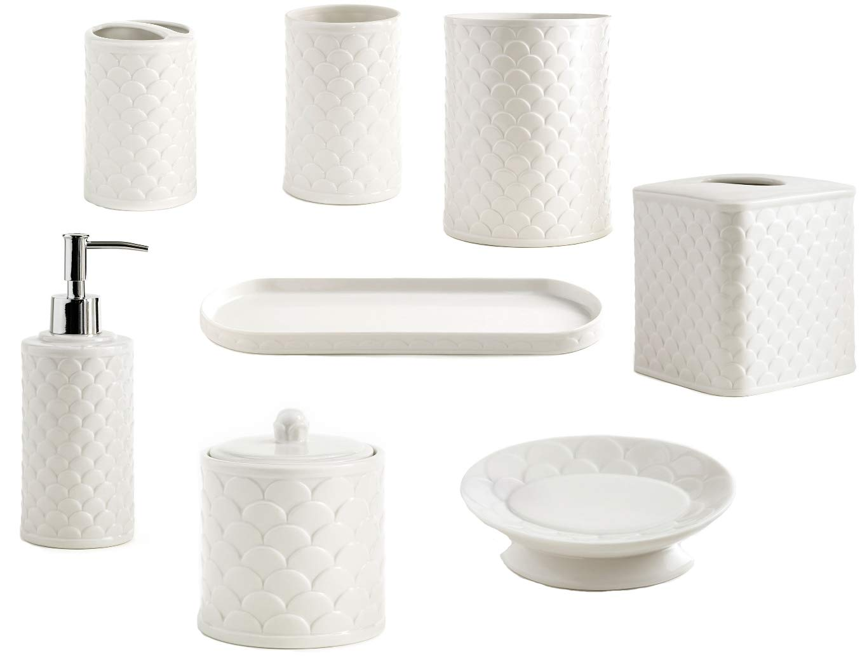Kassatex 8-Piece Bath Accessory Set, Scala Bath Accessories   Embossed Porcelain