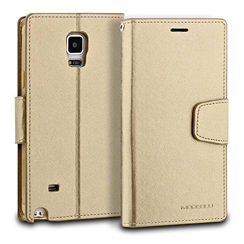 Galaxy Note 4 Case, ModeBlu [Classic Diary Series] [Gold] Wallet Case ID Credit Card Cash Slots Premium Synthetic Leather [Stand View] for Samsung Galaxy Note 4 Photo #3