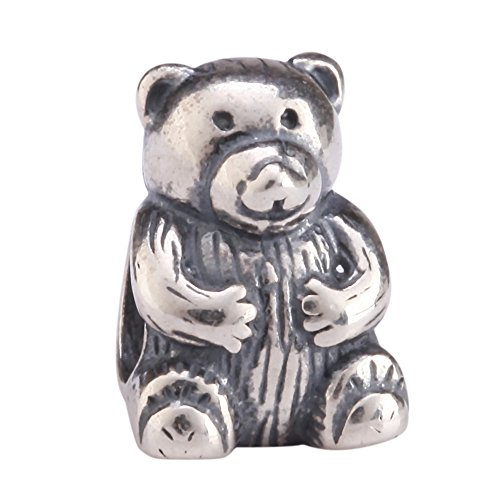 Bear Solid Teddy Silver Sterling (Sterling Silver Cute Teddy Bear Charm Bead for European Charm Bracelets #EC18)