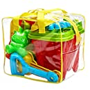 15-Pieces Beach Sand Toys Set in Zippered Bag Castle Bucket by Bo Toys