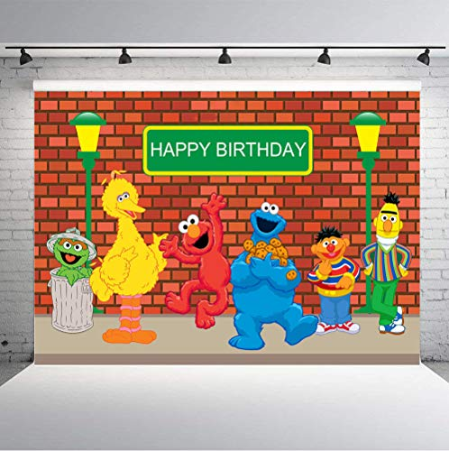 TJ Sesame Street Brick Wall Photography Backdrops Boy Girl Birthday Party Theme Photo Booth Background Baby Shower Banner Decoration Supplies 7x5FT -