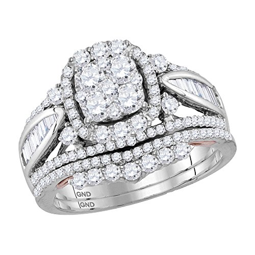 14K Gold Two Tone Cushion Cluster Baguette Diamond Engagement Ring Set 1.5 CT (I1-I2 clarity; G-H color) (Diamond Baguette Tone Two)