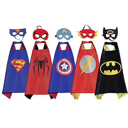 Batman, Superman, Spiderman, Captain America & Flash Superhero Costumes w/ Masks