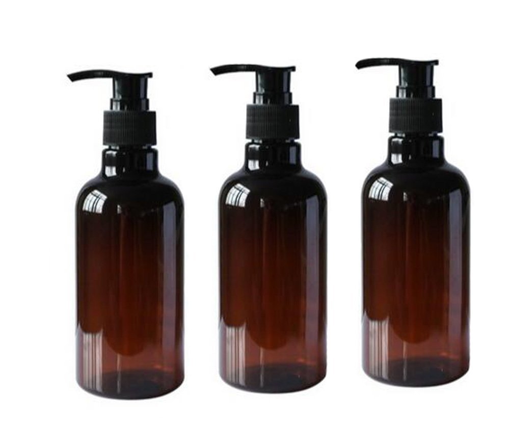 3PCS 250ML 8OZ Refillable Empty PET Plastic Pump Bottles Shampoo Shower Gel Jars Containers with Black Pump Tops for Makeup Cosmetic Bath Shower Toiletries Liquid Containers Leak Proof Portable Travel Accessories erioctry