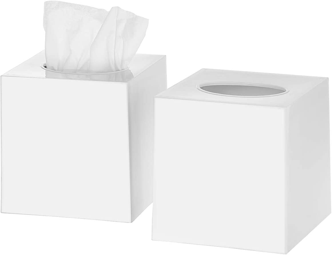 DWËLLZA HOMË Tissue Box Cover Square - Facial Cube Tissue Box Holder Case Dispenser for Bathroom Vanity Countertop, Bedroom Dresser, Office Desk or Night Stand Table, 2 Pack - White