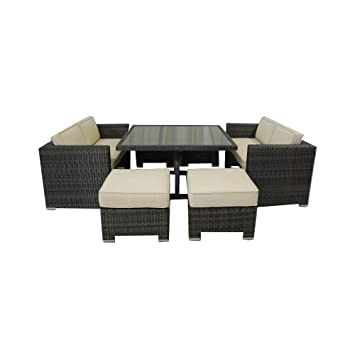 Delicieux Kontiki 7 Piece Monte Carlo Love Seat Dining Set, 10 Feet By 10