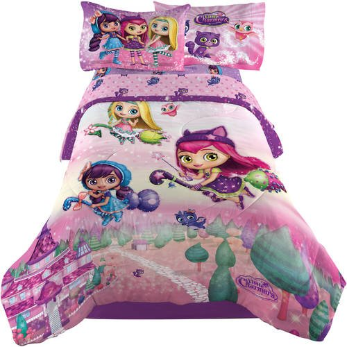 1 Piece Kids Girls Purple Pink Little Charmers Comforter Twin/Full, Charmtastic Bedding Hazel Posie Lavendar Characters Pretty Cute Magic Green White Yellow Blue, Music Notes Reversible Polyester