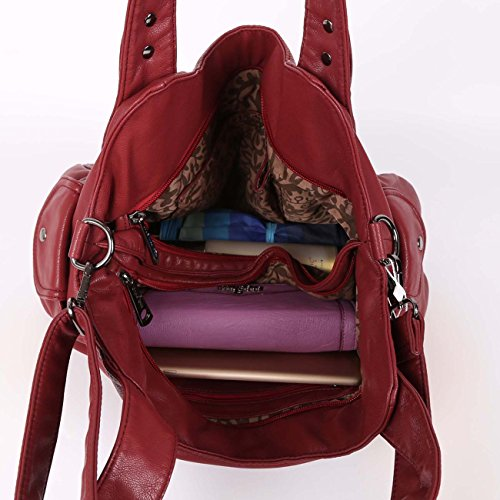 Angelkiss para Bolso de hombro mujer Rojo al Piel rSrCpcq6