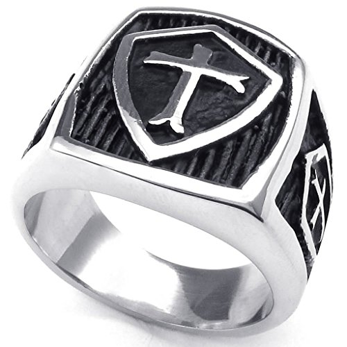 stainless-steel-rings-mens-bands-hield-cross-silver-black-retro-size-15-epinki