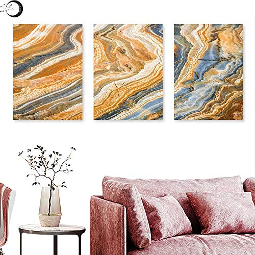 J Chief Sky Marble Wall Art Oil Paintings Colorful Rock Quartz Surface Background Formation Abstract Picture Wall Panel Art Slate Blue Orange Apricot Triptych Art Canvas W 12