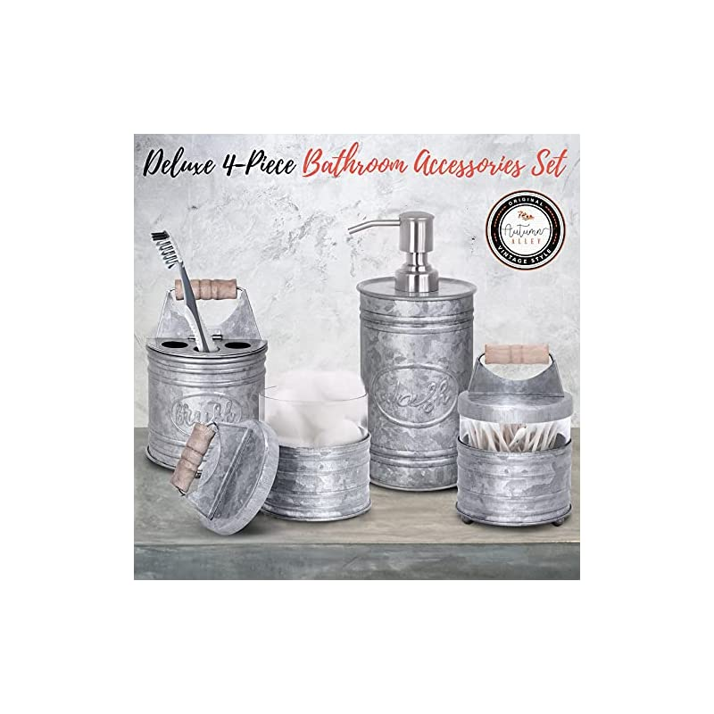 Autumn Alley Rustic Farmhouse Glass and Galvanized Bathroom Accessories Set (4 PCS) - Lotion Soap Dispenser, Toothbrush…