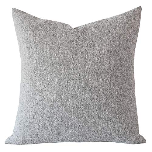 SLOW COW Decorative Throw Pillow Cover Soft Chenille Velvet Cushion Cover Pillow Case for Couch Sofa 18x18Inch 45x45 cm Grey Mixed -