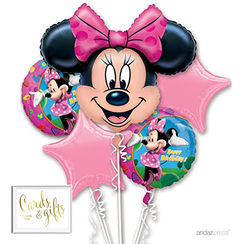 Andaz Press Balloon Bouquet Party Kit with Gold Cards & Gifts Sign, Disney Minnie Mouse Birthday Foil Mylar Balloon Decorations, (Birthday Balloons Design Frame)