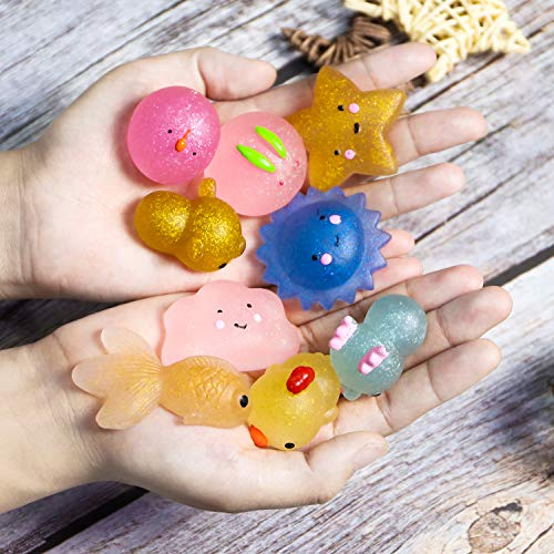 WATINC Random 70 Pcs Squishies Including 20 Pcs 2nd Generation Glitter Squishies 30 Pcs Mochi Squishies 20 Pcs Slow Rising Squishies for Mini Soft Cute Animal Cat Kid Toys Party Favors Stress Relief by WATINC (Image #3)