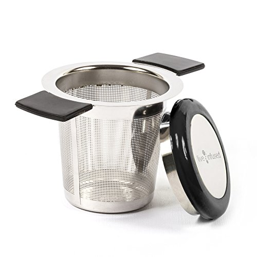 Large Capacity Stainless Steel Tea Infuser by Live Infused - Silicone Covers Handles & Lid Prevent Burns, Spills (Black)