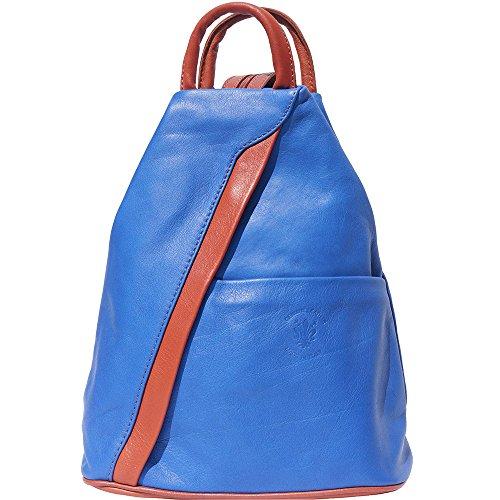 Bolso mochila y bolsa de hombro 2061 Azul-bronceado