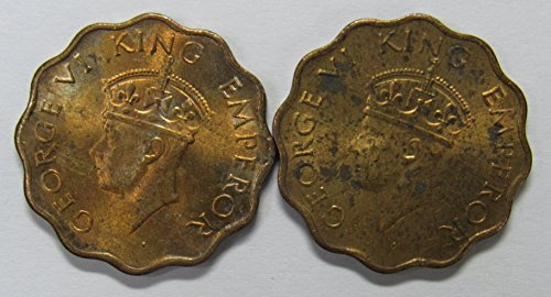 IO 1943 Lot of 2 India-British 1 Anna Coins Fine-VF