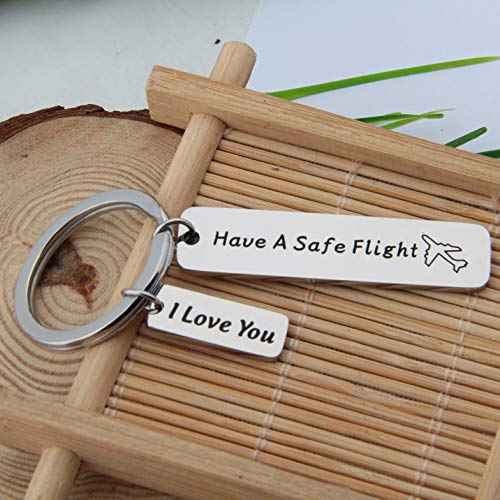 FEELMEM Safe Travels Keychain Have a Safe Flight Keychain Travel Jewelry Flight Attendant Pilot Traveler Gift Family Friend Gift (Silver) by FEELMEM (Image #4)