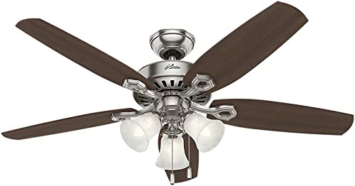 Hunter 53237 Builder Plus 52-Inch Ceiling Fan with Five Brazilian Cherry Harvest Mahogany Blades and Swirled Marble Glass Light Kit, Brushed Nickel Renewed