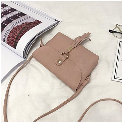 Shoulder Pink Crossbody Bag Clearance Shoulder Bag Mini Bags Fashion Leather Vintage Seaintheson Small Bags Shoulder Messenger Brown Tassel Handbag Purse OC6qxHPnnw