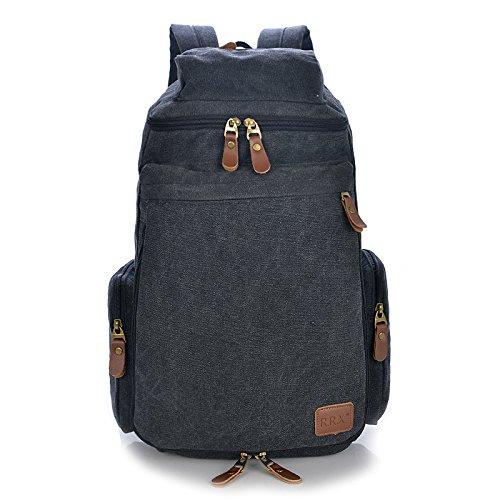 Big Mango Big Capacity Canvas Hiking Backpack Schoolbag Travel Backpack for College Laptop Rucksack - Black