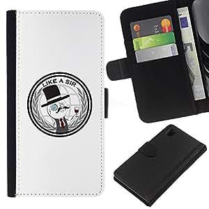 Sony Xperia Z1 L39 - Dibujo PU billetera de cuero Funda Case Caso de la piel de la bolsa protectora Para (Like A Sir - Funny)