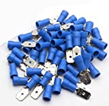 100x Blue Male 6.3mm Spade Connector Insulated