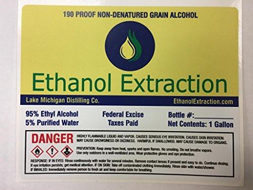 190 Proof Non Denatured Food Grade Grain Alcohol - 5 Gallon