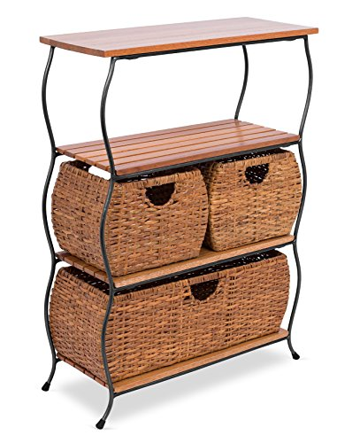 - BIRDROCK HOME Industrial 4-Tier Shelving Unit with Rattan Woven Baskets | Delivered Fully Assembled | Wooden Freestanding Shelves with Storage Bins | Decorative Living Room Shelf