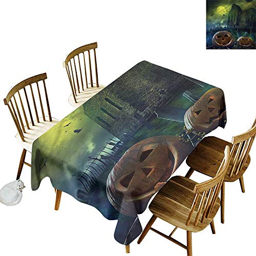 (one1love Washable Tablecloth Halloween Pumpkin in Spooky Grave It's Good to be Home Gorgeous High End Quality 60