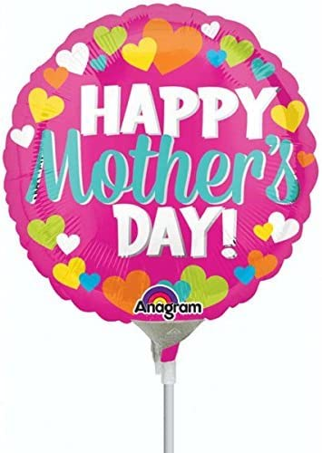 [해외]Anagram Happy Mothers Day Hearts Mini Foil Balloons on Sticks (3 Pack) / Anagram Happy Mothers Day Hearts Mini Foil Balloons on Sticks (3 Pack)