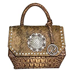 Crocodile & Brindle Leather Bag With Crystals