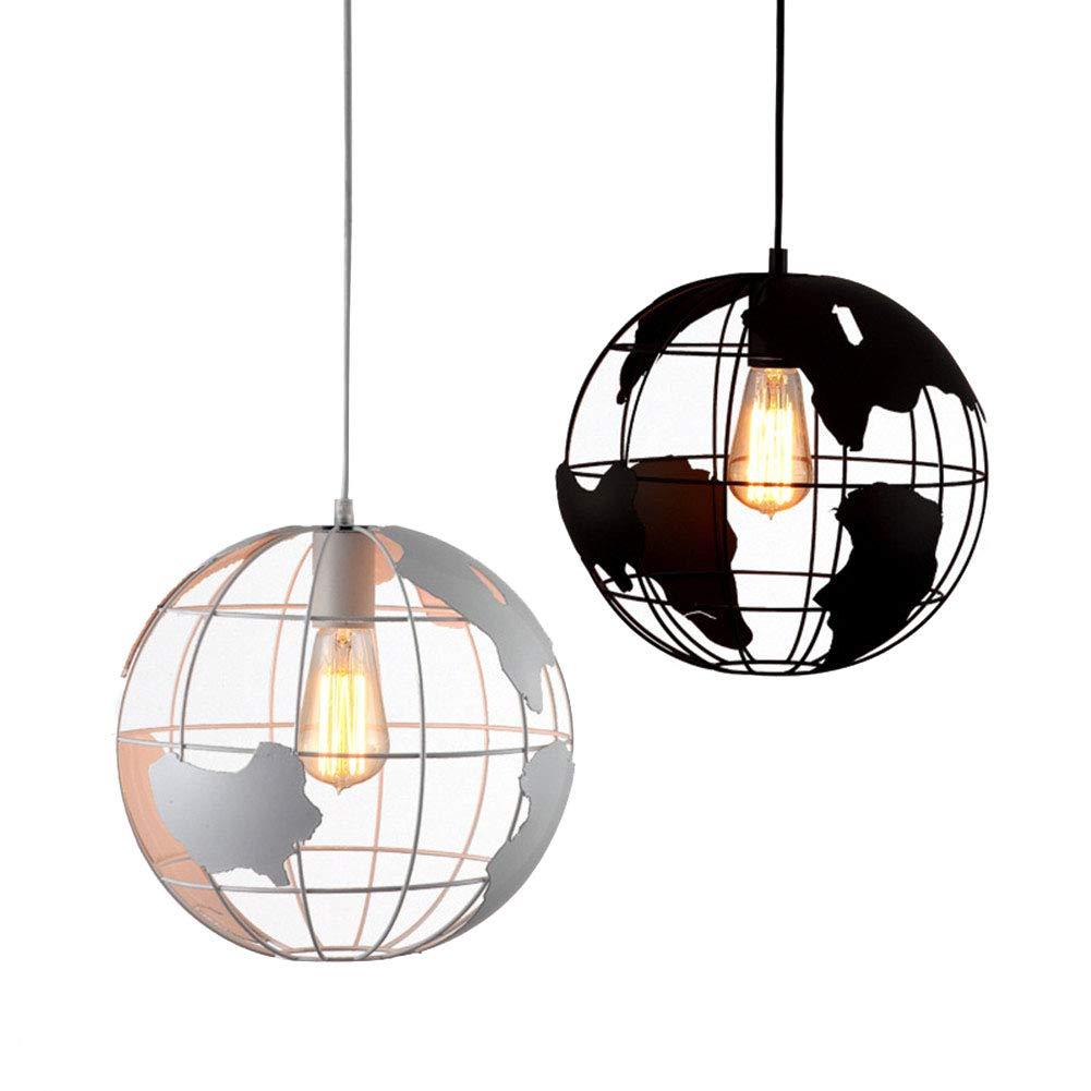 Globe Plafonnier suspendu décoratif pour salle à manger ou chambre à coucher Ø 7,87 cm max. 40 W, Weiß 10.00W JUNFEI