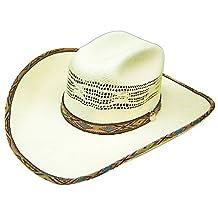 Modestone Bangora Straw Cowboy Hat Native Pattern Fabric Hatband/Brim Edge White