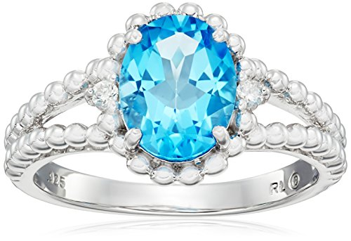 Sterling Silver Oval Swiss Blue Topaz with Diamond Accent Beaded Split Shank Ring, Size - Shank Topaz Split